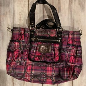 coach poppy plaid tartan tote